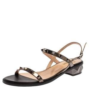 Valentino Metallic Olive Green Leather Rockstud Open Toe Slingback Sandals Size 39