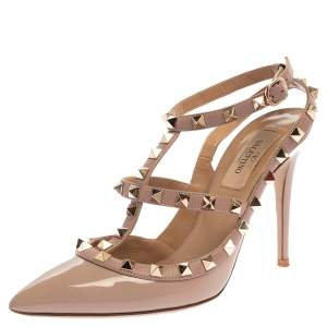 Valentino Beige Patent Leather Rockstud Ankle Strap Sandals Size 37.5