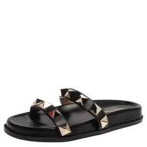 Valentino Black Leather Macro Stud Flat Slides Size 35