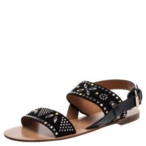 Valentino Black Suede Embellished Teodora Ankle Strap Buckle Flats Size 39