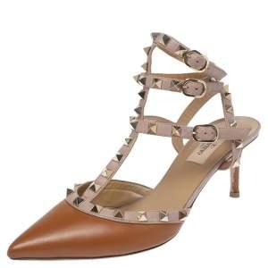 Valentino Brown/Old Rose Leather Rockstud Ankle Strap Sandals Size 38