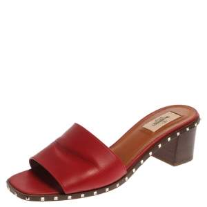 Valentino Red Leather Soul Rockstud Slide Mules Size 40