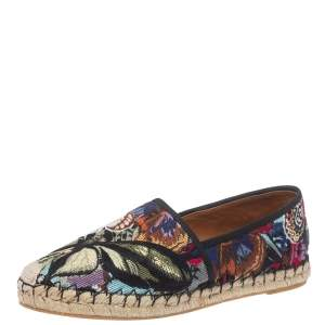 Valentino Black Camubutterfly Embroidered Canvas Espadrille Flats Size 40