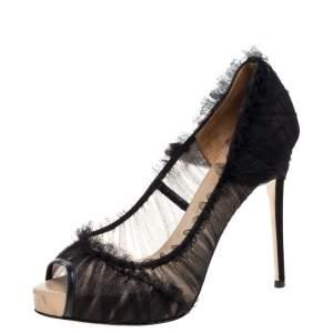 Valentino Black Tulle Peep Toe Platform Pumps Size 39.5