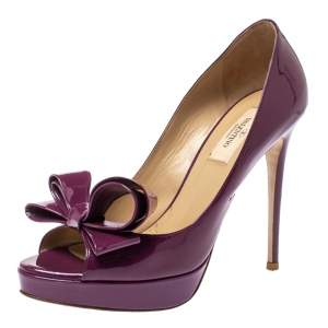 Valentino Purple Patent Leather Couture Bow Peep Toe Platform Pumps Size 37.5