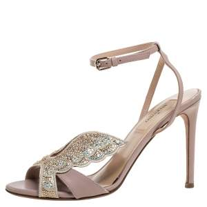 Valentino Beige Crystal Embellished Leather Angelicouture Ankle Strap Sandals Size 36