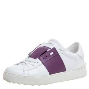 Valentino Garavani White/Purple Leather Open Sneakers Size 36.5