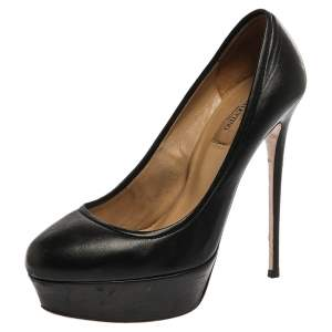 Valentino Black Leather Round Toe Platform Pumps Size 39