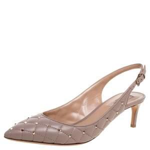 Valentino Blush Pink Leather Rockstud Embellished Pointed Toe Slingback Sandals Size 39.5