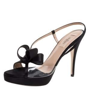 Valentino Black Satin And PVC Bow Open Toe Slingback Sandals Size 39.5