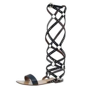 Valentino Black Leather Studded Teodora Gladiator Sandals Size 37
