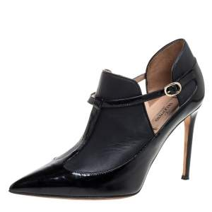 Valentino Black Leather And Patent Leather Pointed Toe Ankle Booties Size 37.5