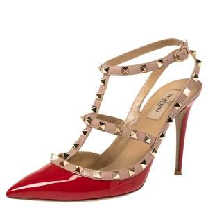 Valentino Red/Pink Patent Leather Rockstud Strappy Sandals Size 40