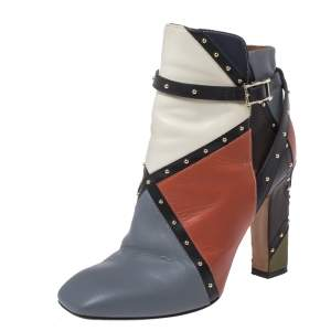 Valentino Multicolor Studded Paneled Leather Ankle Boots Size 37