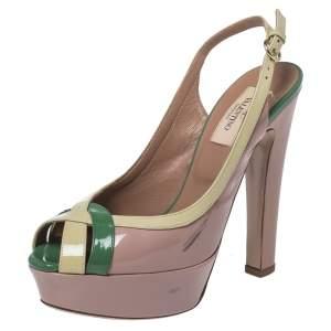 Valentino Tri Color Patent Leather Criss Cross Platform Slingback Peep Toe Sandals Size 37