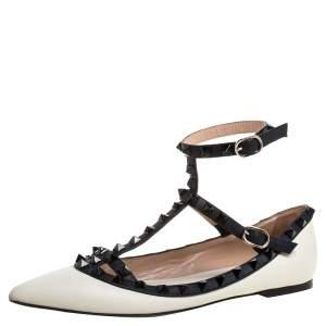 Valentino Cream/Black Leather Rockstud Ankle Strap Ballet Flats Size 36.5