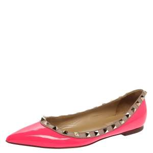 Valentino Pink Patent Leather Rockstud Pointed Toe Flats Size 37