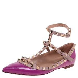 Valentino Pink Patent Leather Rockstud Ankle Strap Pointed Toe Flats Size 37