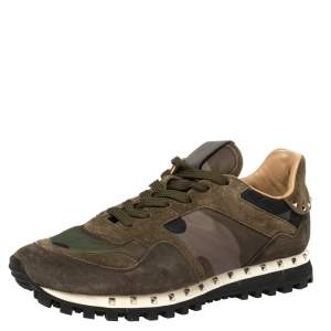 Valentino Military Green Camouflage Nylon and Suede Rockrunner Sneakers Size 39.5