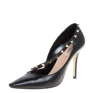 Valentino Black Leather Rockstud D'orsay Pointed Toe Pumps Size 40
