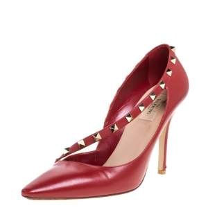 Valentino Red Leather D'Orsay Rockstud Pumps Size 40