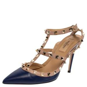 Valentino Blue/Pink Leather Rockstud Ankle Strap Sandals Size 38
