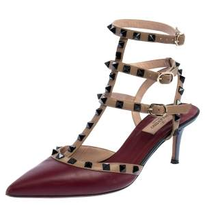 Valentino Burgundy/Beige Leather Rockstud Embellished Pointed Toe Sandals Size 39