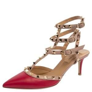 Valentino Dark Pink/Beige Leather Rockstud Caged Pointed Toe Sandals Size 38