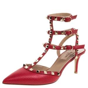 Valentino Red Leather Rockstud Ankle Strap Sandals Size 38