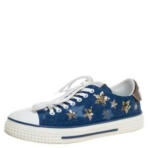 Valentino Blue Denim Sequin Low Top Sneakers Size 40
