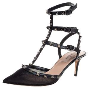 Valentino Black Leather And Mesh Rockstud Triple T Strap Pointed Toe Sandals Size 38.5
