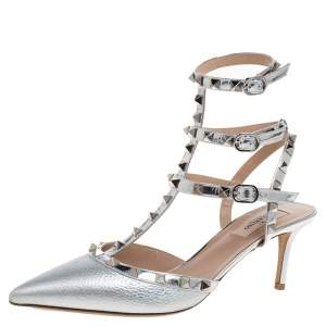 Valentino Metallic Silver Leather and Patent Leather Rockstud Ankle Strap Sandals Size 40