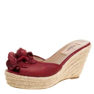 Valentino Red Leather Flower Applique Espadrille Wedge Platform Sandals Size 36.5