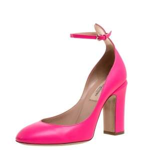 Valentino Pink Leather Tango Ankle Strap Pumps Size 36