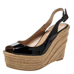 Valentino Black Patent Leather Wedge Platform Espadrilles Slingback Sandals Size 37