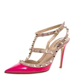 Valentino Pink Patent Leather Rockstud Ankle Strap Sandals Size 37.5