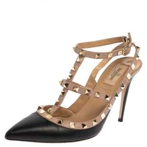 Valentino Black Leather Rockstud Accents T Strap Sandals Size 39.5