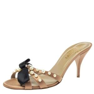 Valentino Brown Satin Bow Pearl Embellished Open Toe Sandals Size 40.5