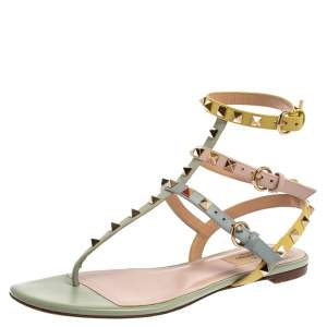 Valentino Multicolor Leather Rockstud Ankle Strap Flat Sandals Size 38