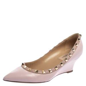 Valentino Pink Leather Rockstud Wedge Pumps Size 37