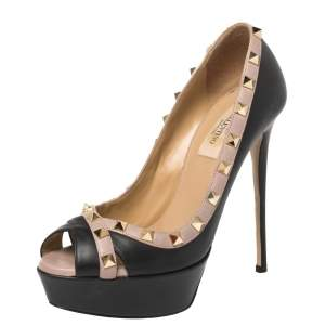 Valentino Black Leather Rockstud Peep Toe Platform Pumps Size 37