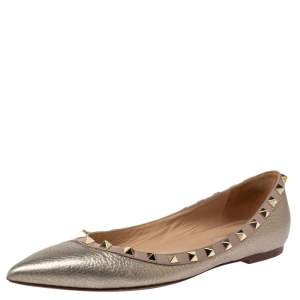 Valentino Metallic Leather Rockstud Ballet Flats Size 38.5