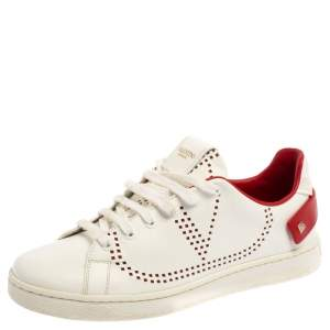 Valentino White Perforated Leather Backnet Rockstud Low Top Sneakers Size 37