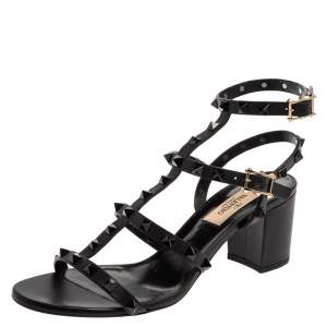 Valentino Black Leather Rockstud Caged Open Toe Sandals Size 38