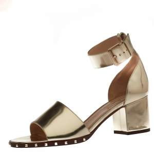 Valentino Gold Patent Leather Soul Rockstud Ankle Strap Sandals Size 38