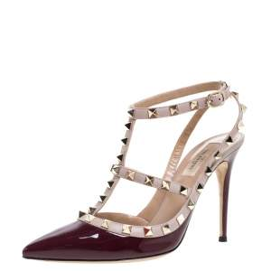 Valentino Plum/Beige Patent Leather Rockstud Pointed Toe Ankle Strap Sandals Size 39