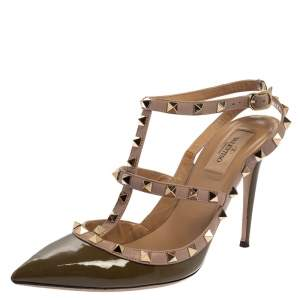 Valentino Green/Beige Patent And Leather Rockstud Strappy Sandals Size 40.5