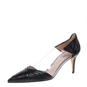 Valentino Black Leather and PVC B Drape Pointed Toe Pumps Size 40.5