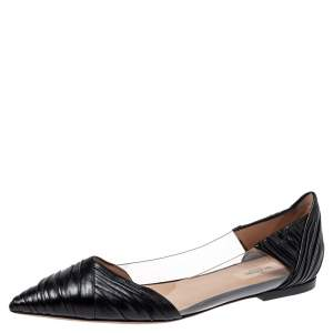 Valentino Black Leather and PVC B Drape Pointed Toe Ballet Flats Size 40.5