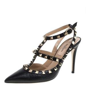 Valentino Black Grainy Leather Rockstud Pointed Toe Ankle Strap Sandals Size 36